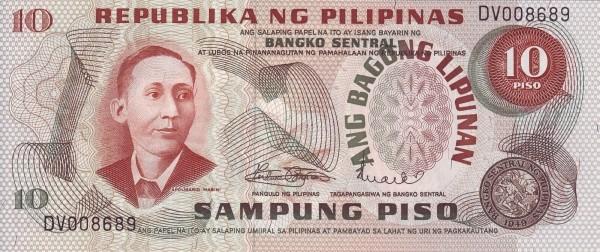 Philippines 10 Piso (Ang Bagong Lipunan & Seal Type 2 1970)