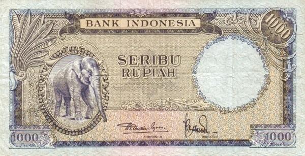 Indonesia 1000 Rupiah (1957 Animals)