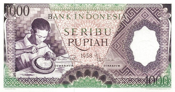 Indonesia 1000 Rupiah (1958 Arts and Crafts-2)
