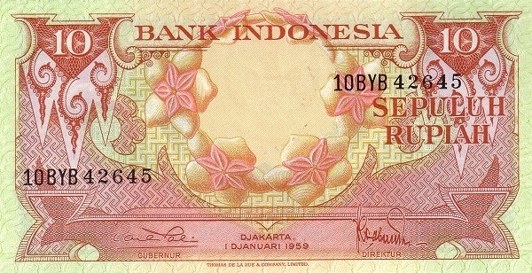Indonesia 10 Rupiah (1959 Flowers and Birds)
