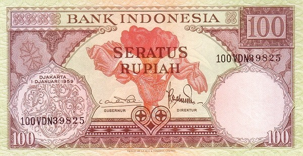 Indonesia 100 Rupiah (1959 Flowers and Birds)