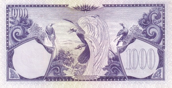 Indonesia 1000 Rupiah (1959 Flowers and Birds)