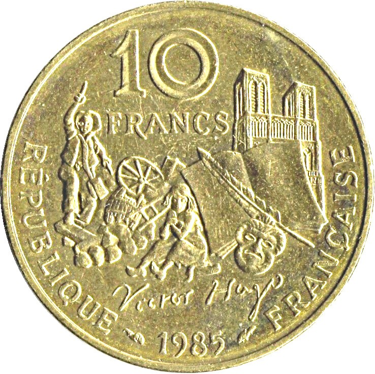 France 10 Francs (1985 Victor Hugo Commemorative Coin)