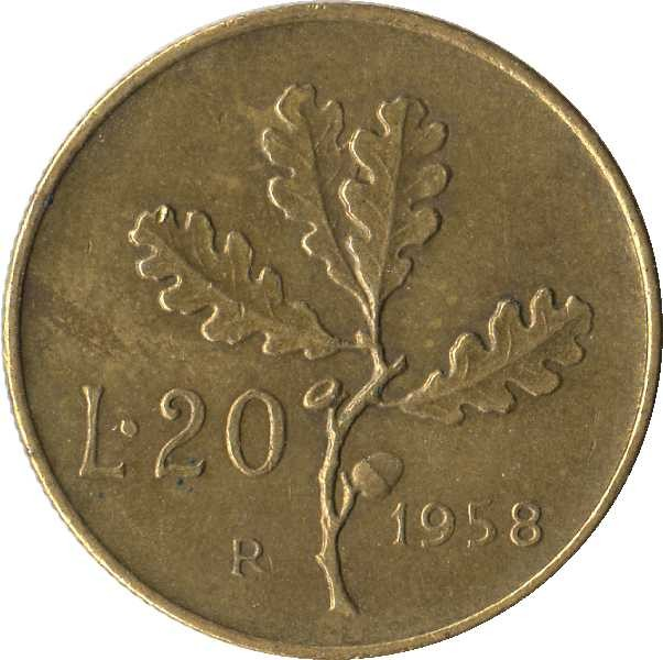 Italy 20 Lire (1957-2001)