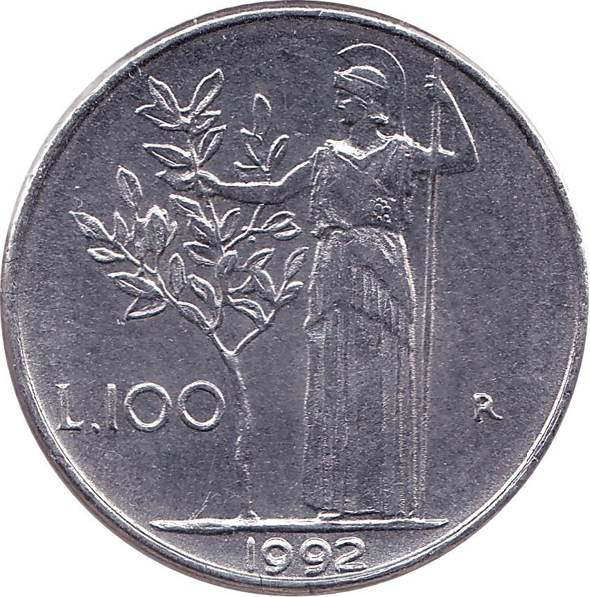 Italy 100 Lire (1990-1992 Small Type)