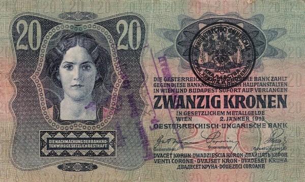 Yugoslavia 20 Kruna (1919 Handstamped Austro-Hungarian Kronen)