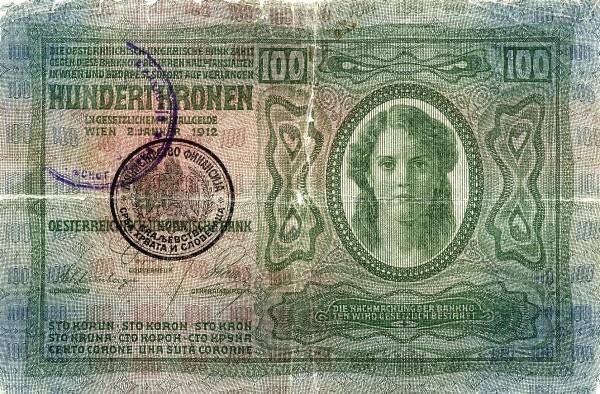 Yugoslavia 100 Kruna (1919 Handstamped Austro-Hungarian Kronen)