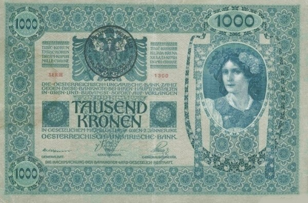 Yugoslavia 1000 Kruna (1919 Handstamped Austro-Hungarian Kronen)