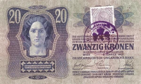 Yugoslavia 20 Kruna (1919 Adhesive Stamps Austro-Hungarian Kronen)