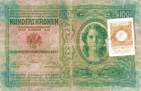 Yugoslavia 100 Kruna (1919 Adhesive Stamps Austro-Hungarian Kronen-3)