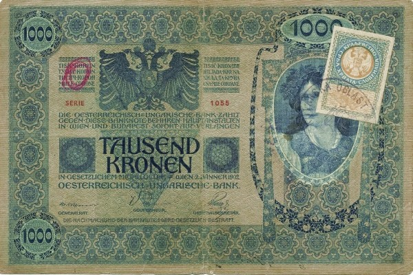 Yugoslavia 1000 Kruna (1919 Adhesive Stamps Austro-Hungarian Kronen)