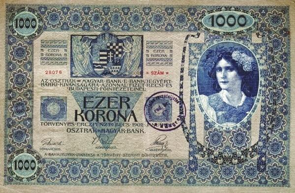 Yugoslavia 1000 Kruna (1919 Adhesive Stamps Austro-Hungarian Kronen-3)