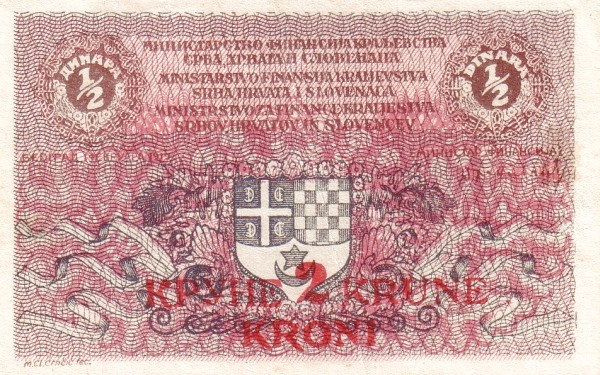 Yugoslavia 2 Krune  (1919 Kruna Overprint)