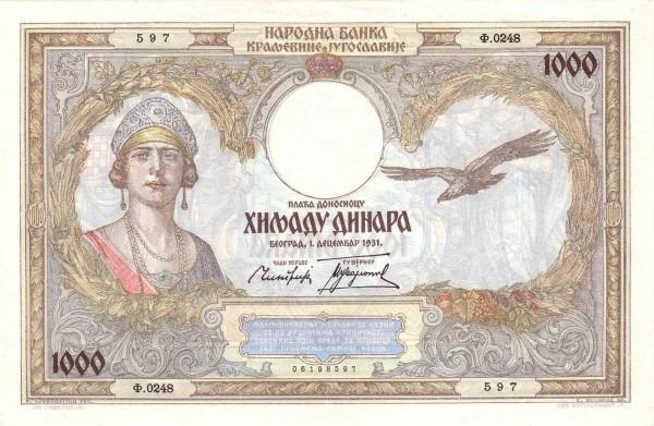 Yugoslavia 1000 Dinara  (1934-1936  Kingdom of Yugoslavia)