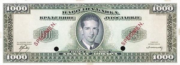 Yugoslavia 1000 Dinara  (1943 Kingdom in Exile)