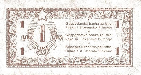 Yugoslavia 1 Lira (1945 Istria, Fiume & Slovenian Coast)