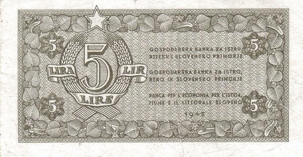 Yugoslavia 5 Lira (1945 Istria, Fiume & Slovenian Coast)