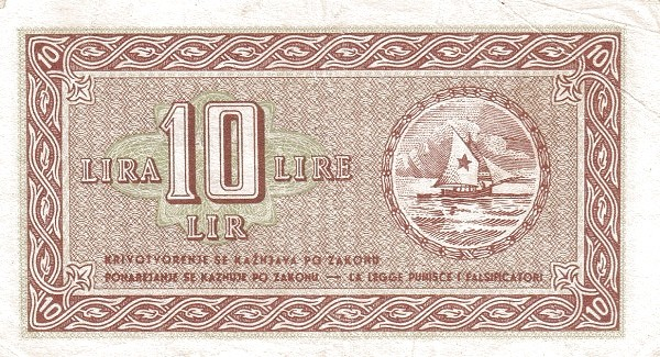 Yugoslavia 10 Lira (1945 Istria, Fiume & Slovenian Coast)
