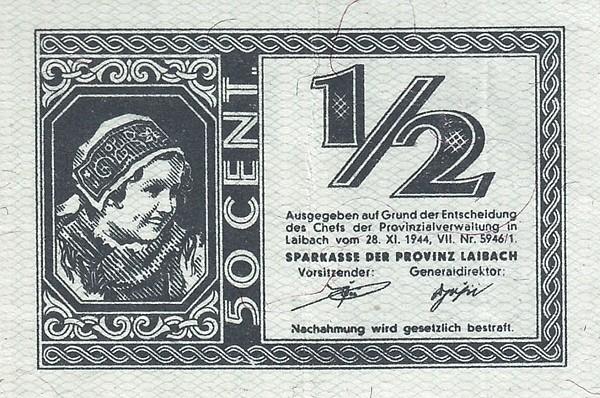 Yugoslavia ½ Lira (1944 Ljubljana-Laibach)