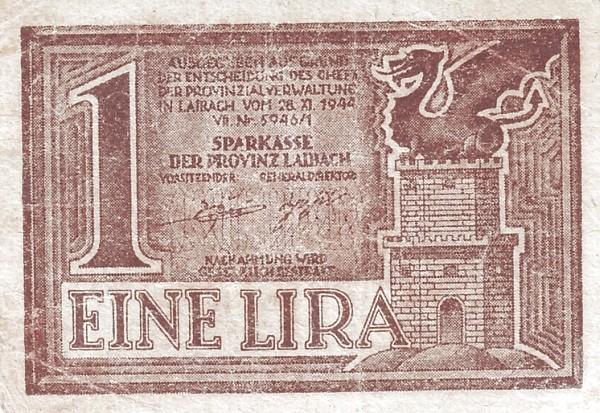 Yugoslavia 1 Lira (1944 Ljubljana-Laibach)