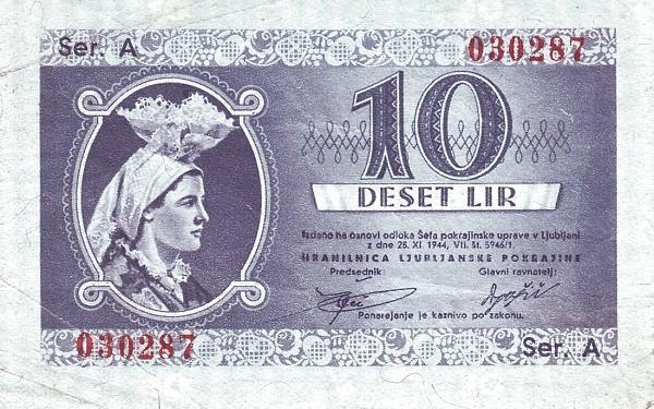 Yugoslavia 10 Lire (1944 Ljubljana-Laibach)