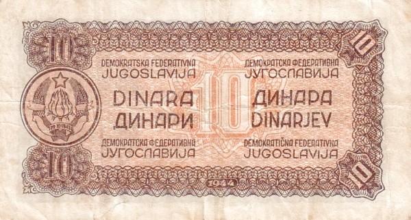 Yugoslavia 10 Dinara (1944 Partisan Republic)