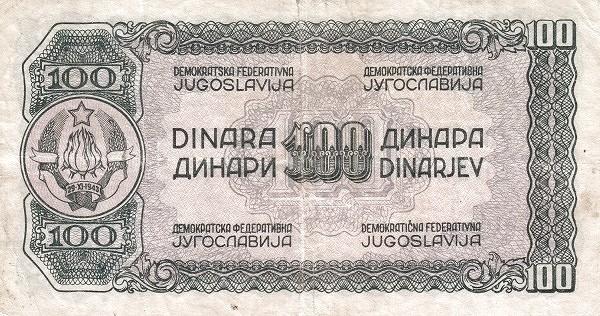 Yugoslavia 100 Dinara (1944 Partisan Republic)