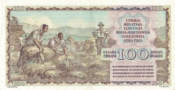 Yugoslavia 100 Dinara (1953 Republic)