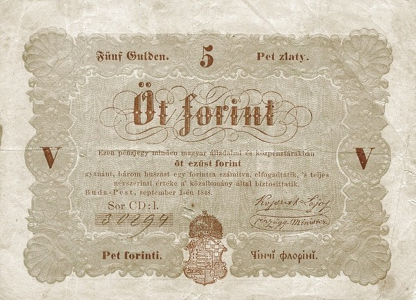 Hungary 5 Forint (1848 Insurrection, Foreign Issues & Sieges)