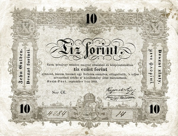Hungary 10 Forint (1848 Insurrection, Foreign Issues & Sieges)