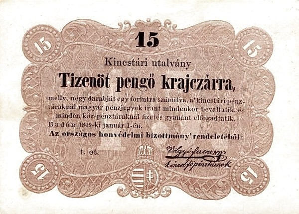 Hungary 15 Pengő Krajczárra (1849 Insurrection, Foreign Issues & Sieges)