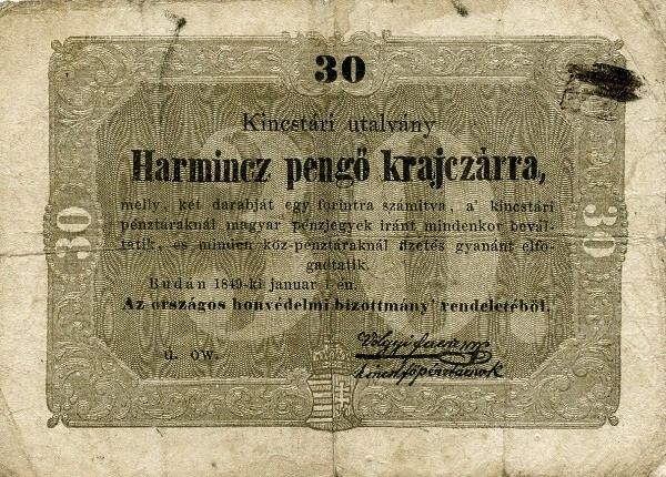 Hungary 30 Pengő Krajczárra (1849 Insurrection, Foreign Issues & Sieges)
