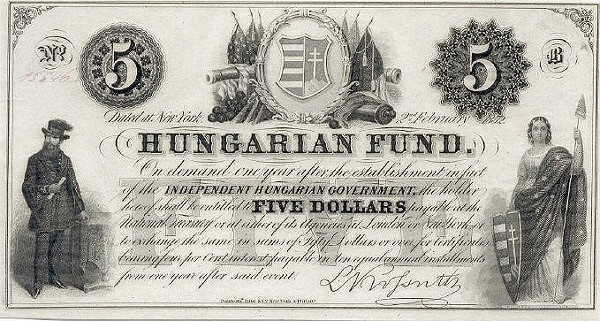 Hungary 5 Dollars (1852 Insurrection, Foreign Issues & Sieges-2)