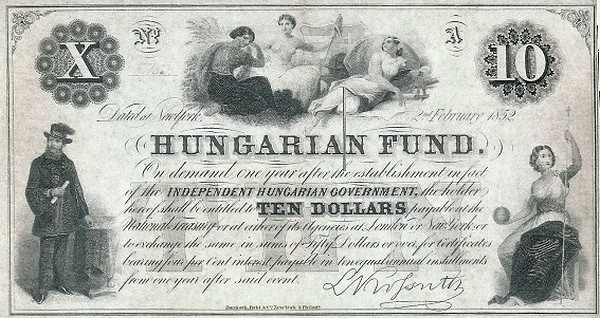 Hungary 10 Dollars (1852 Insurrection, Foreign Issues & Sieges-2)