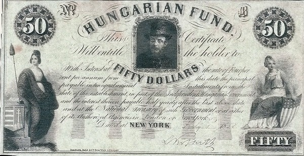 Hungary 50 Dollars (1852 Insurrection, Foreign Issues & Sieges)