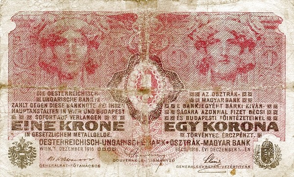 Hungary 1 Korona (1918-1919 OSZTRÁK-MAGYAR BANK)