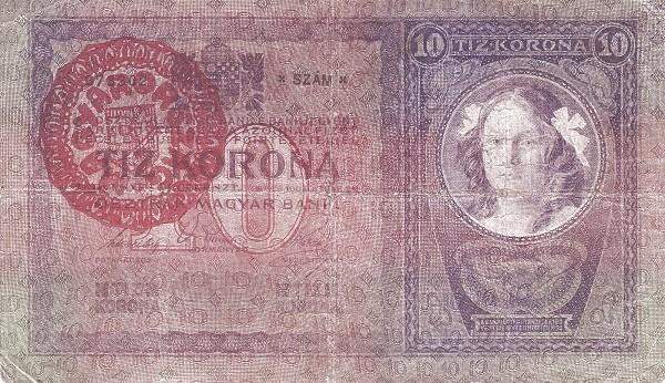 Hungary 10 Korona (1920 OSZTRÁK-MAGYAR BANK)