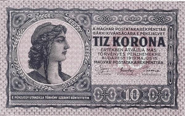 Hungary 10 Korona (1919 POSTATAKARÉKPÉNZTÁR)