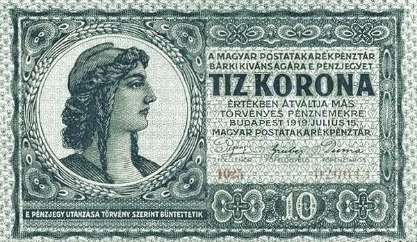 Hungary 10 Korona (1919 POSTATAKARÉKPÉNZTÁR-2)