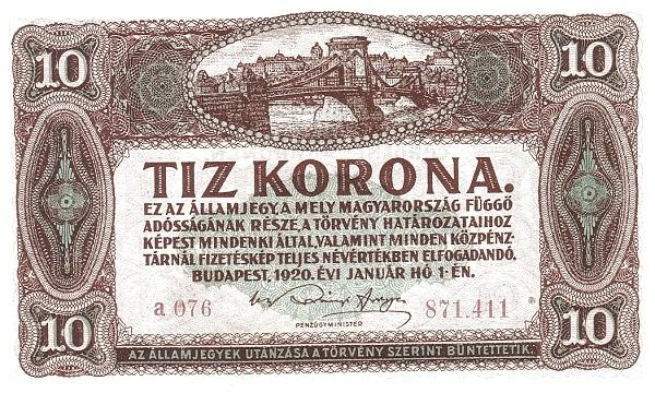 Hungary 10 Korona (1920-1922 PÉNZÜGYMINISZTÉRIUM)
