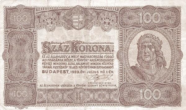 Hungary 100 Korona (1923 Second PÉNZÜGYMINISZTÉRIUM)