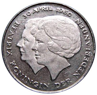 Netherlands 1 Gulden (1980 Beatrix Investiture of New Queen)