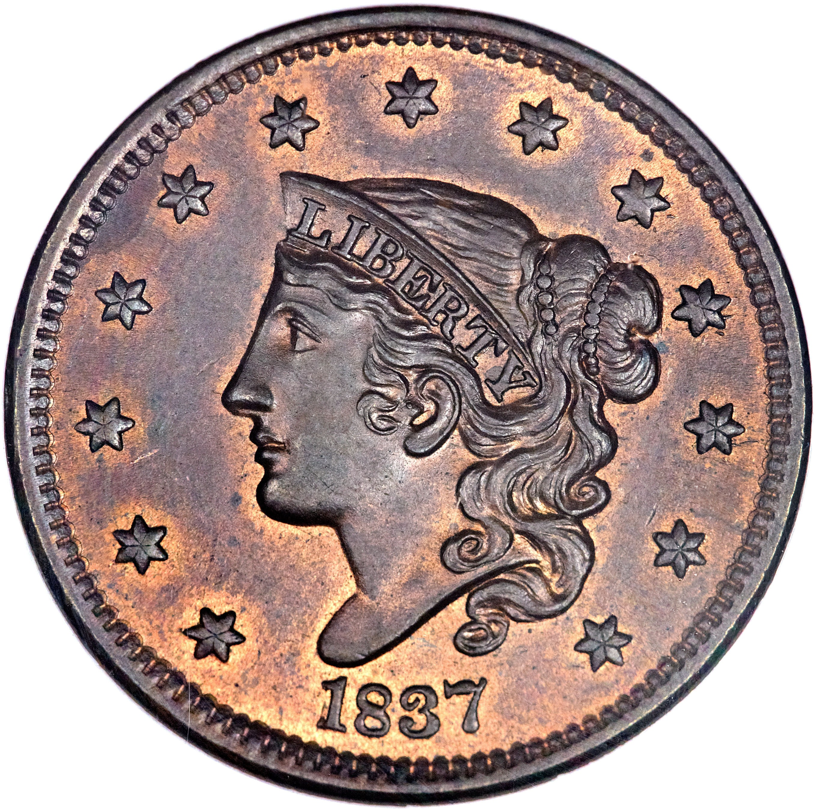 United States 1 Cent (1837-1839 Liberty Head / Matron Head Modified-Type 2 Young Head)