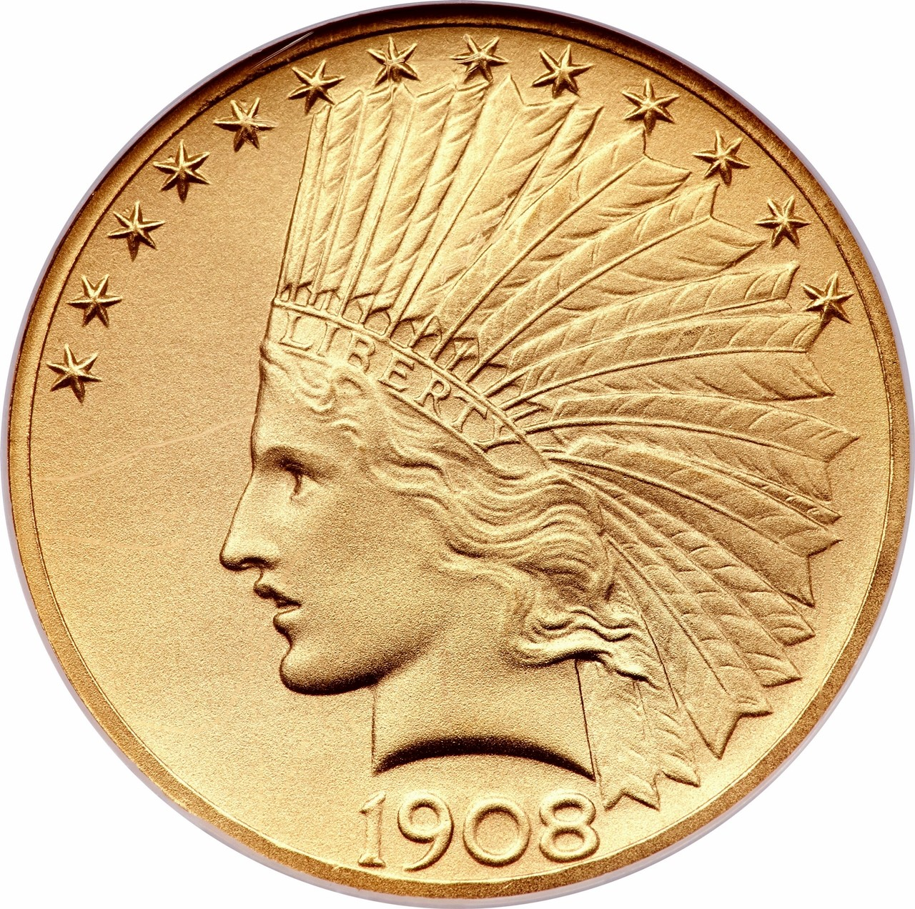 United States 10 Dollars (1908-1933 Indian Head - Eagle,With Motto)