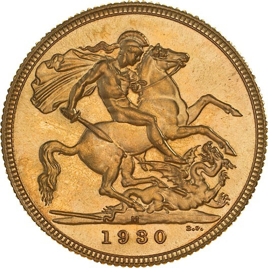 Australia 1 Sovereign (1929-1931 George V Enhanced portrait)