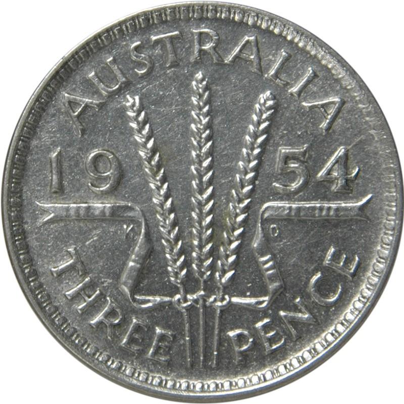 Australia 3 Pence (1953-1954 Elizabeth II)