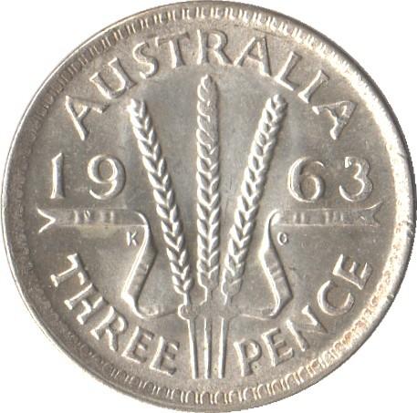 Australia 3 Pence (1955-1964 Elizabeth II)