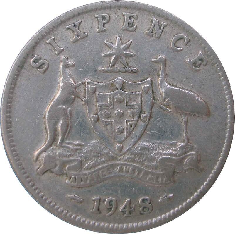 Australia 6 Pence (1946-1948 George VI)