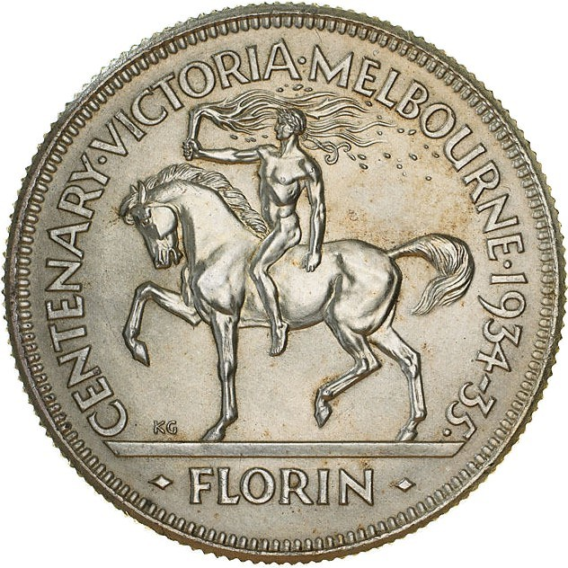 Australia 1 Florin (1934-1935 George V Victoria and Melbourne Centenary)