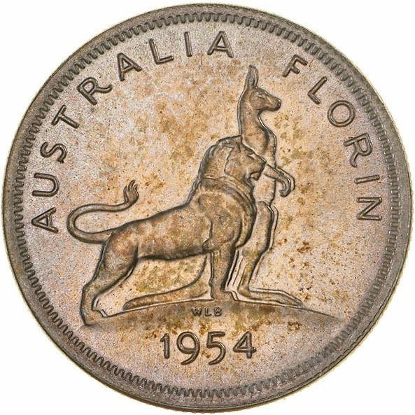 Australia 1 Florin (1954 Elizabeth II-Royal Visit)
